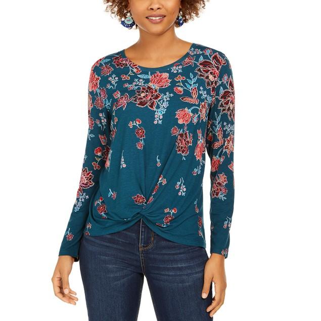 Style & Co Women's Floral-Print Twist-Hem Top Blue Size Large