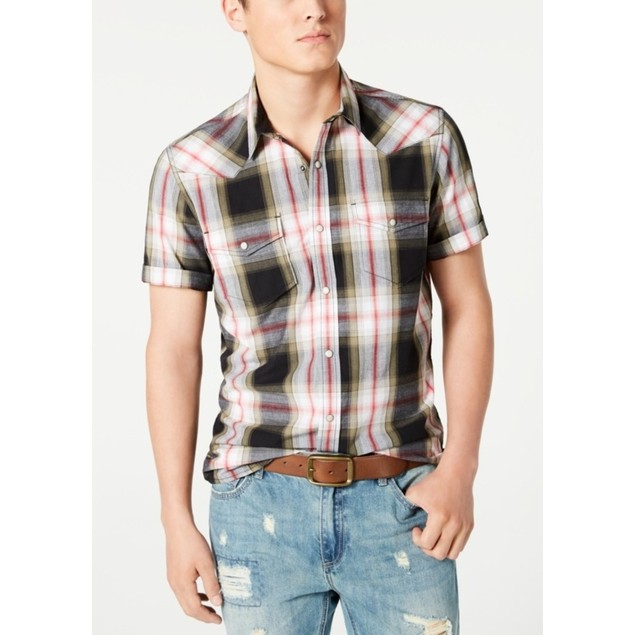 American Rag Taylor Regular-Fit Plaid Western Shirt 2 Extra Large