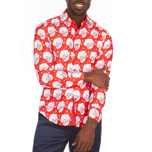 Suslo Couture Men's Christmas Long Sleeve Button Down Shirt