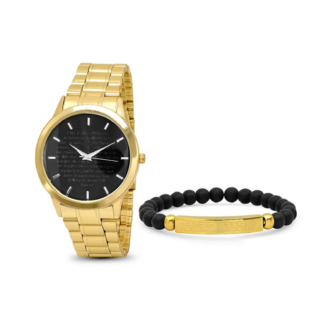 Bracelet & Watch Set W/ Black & Gold Our Father Id Bracelet