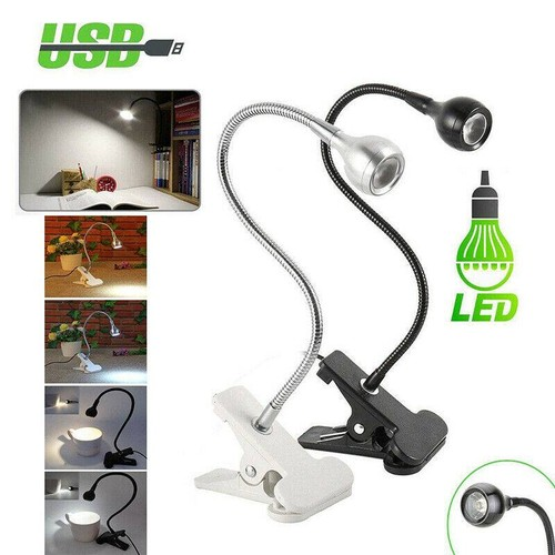 USB LED Reading Study Light Clip-on Clamp Desk Table Lamp - 2 Colors