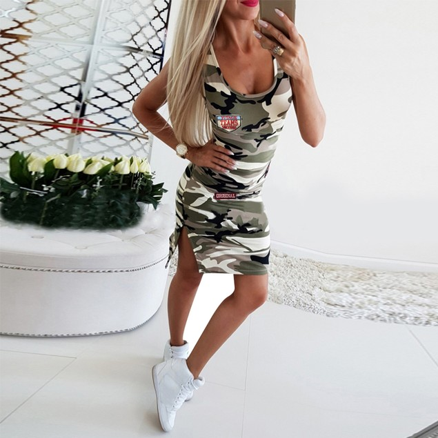 Round Neck Sleeveless Camouflage Print Dress