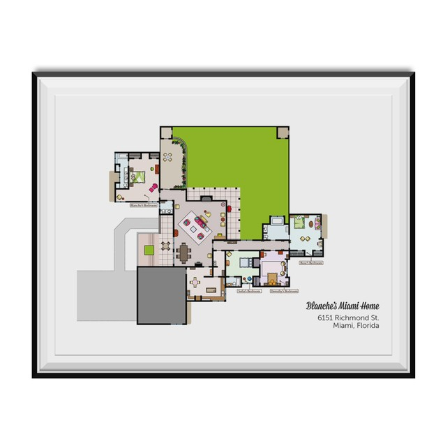 Blanche's Miami Home Floor Plan Poster 11 x 17