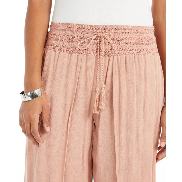 Style & Co Women's Textured Tie-Waist Wide-Leg Pants Pink Size Large