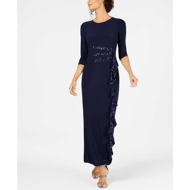 R & M Richards Women's Long and Classic Sequin-Embellished Dress, 14, Navy