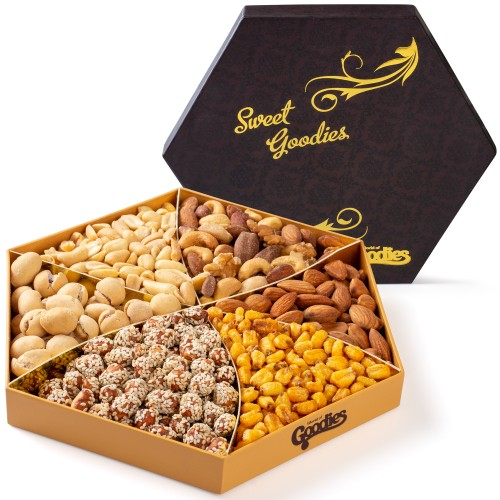 Sweet Goodies Nut Gift Basket, Gourmet Food Nuts Tray
