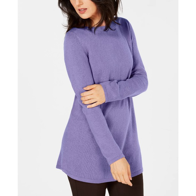 Karen Scott Women's Solid Curved-Hem Tunic Purple Size Medium