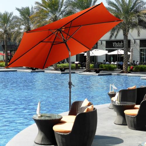 Costway 10 FT Patio Umbrella Patio Market Steel Tilt W/ Crank Outdoor Yard