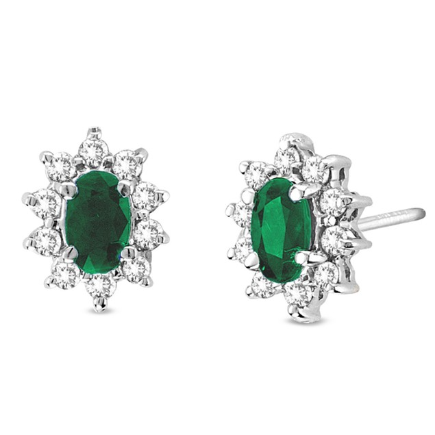Diamond and Emerald 0.70cttw Earrings in 14k White Gold