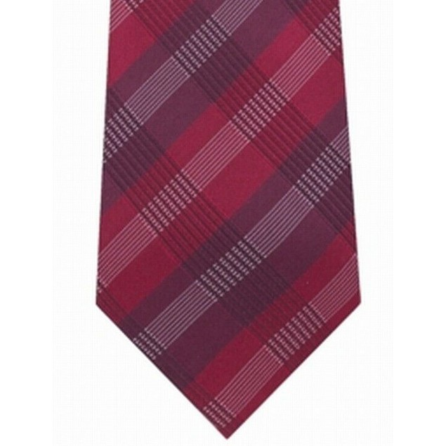 Kenneth Cole Reaction Men's Slim Plaid Tie Red Size Regular