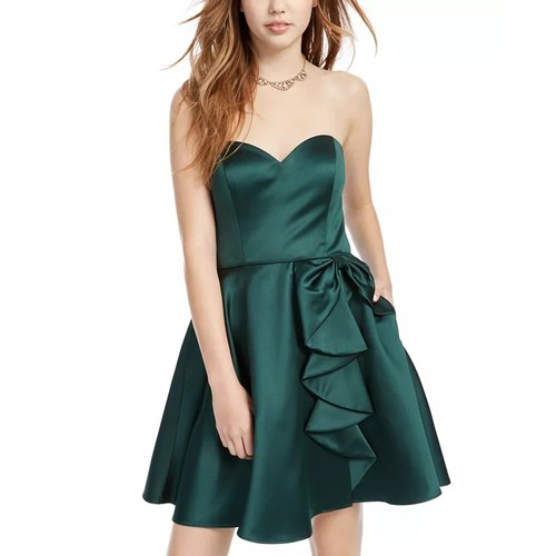 Blondie Nites Juniors' Ruffled Strapless Fit & Flare Dress Green S 7
