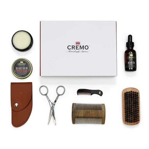 Cremo Beard Starter Set, 100% Boar Bristle Brush, Sandalwood Beard Comb, Beard Shears, Beard Oil, Beard Balm
