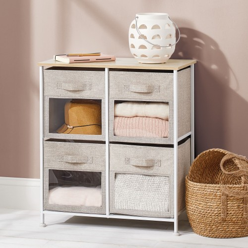 mDesign Vertical Furniture Storage Tower with 4 Fabric Drawer Bins