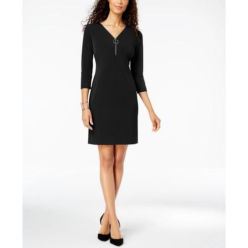 JM Women's Collection Zip-Neck A-Line Dress Black Size Small