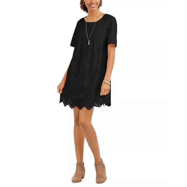 Style & Co Women's Eyelet Babydoll Dress Black Size X-Small