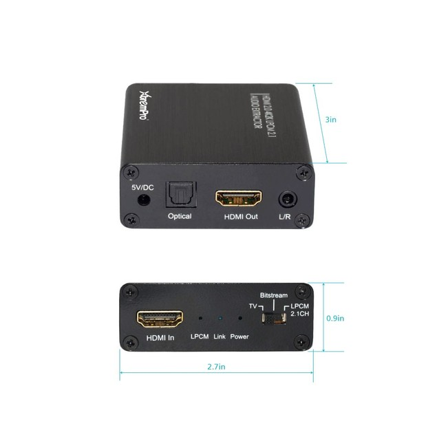 HDMI to HDMI w/Optical TOSLINK SPDIF Stereo Audio Extractor Converter
