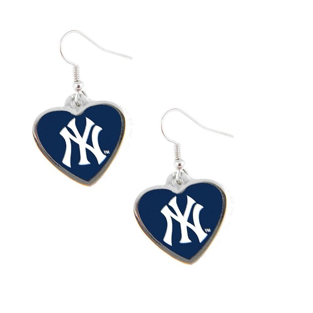 MLB New York Yankees Heart Shape Dangle Logo Earring (Not Swirl)