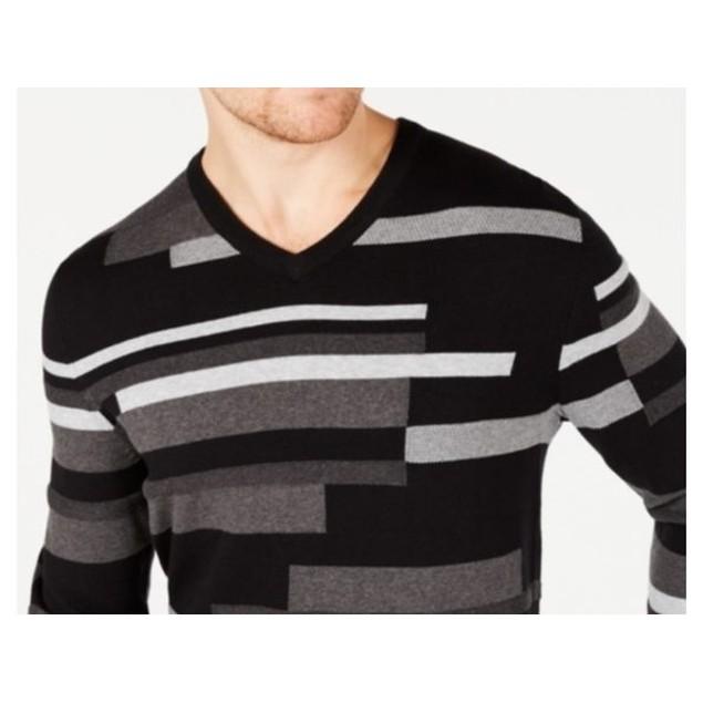 Alfani Men's Textured Striped V-Neck Sweater Black Size Small