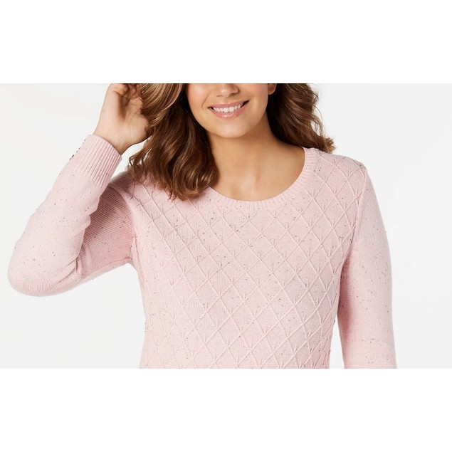 Karen Scott Women's Diamond Cable-Knit Sweater Pink Size Extra Large