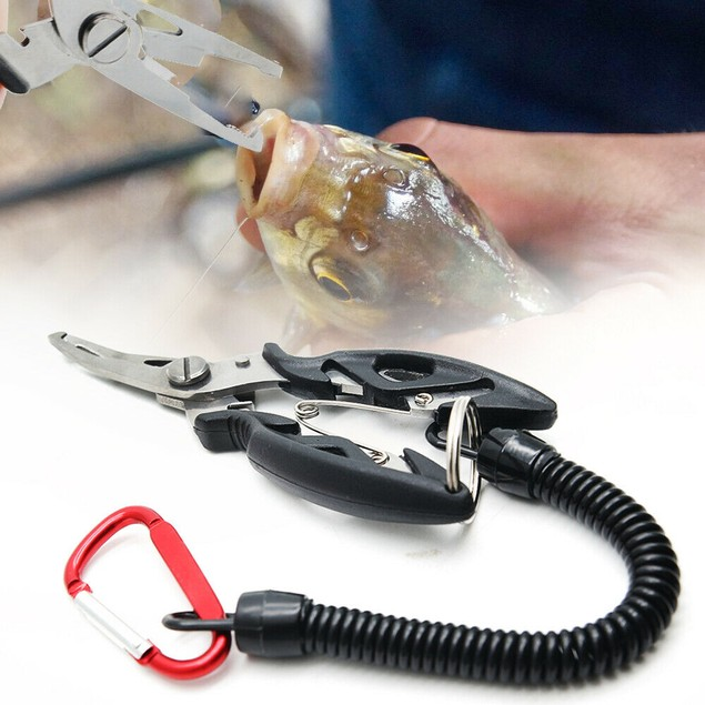 Fishing Pliers Scissors with Coiled Lanyard Stainless Steel Fishing Tools