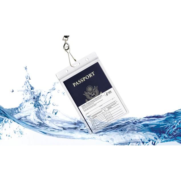 3-Pack: Waterproof Passport & CDC Vaccination Card Holder w/ Lanyard