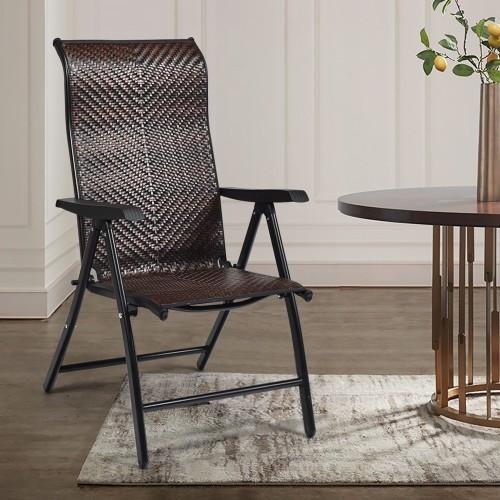 Costway Patio Rattan Folding Chair Recliner Back Adjustable