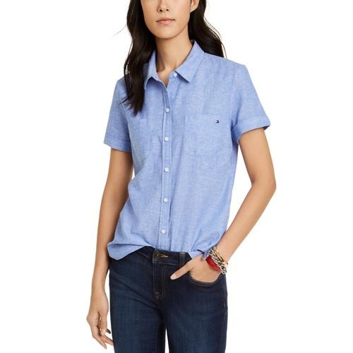 Tommy Hilfiger Women's Linen & Cotton Camp Shirt Blue Size 2 Extra Large