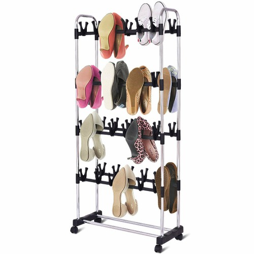 Costway 48 Pairs Clip On Shoe Rack Adjustable Storage Shelf Holder Space Or