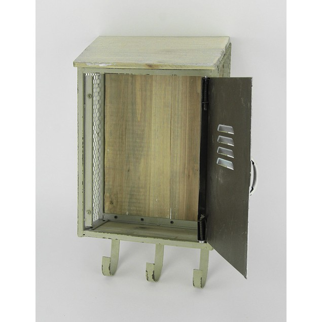 Retro Wall Mounted Wood & Metal Storage Locker Decorative Wall Hooks