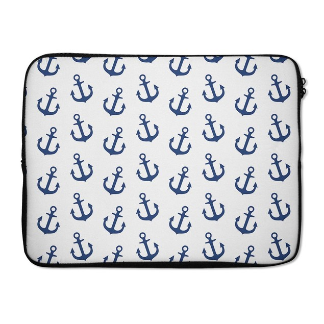 """EmbraceCase 15.6"""" Ink-Fuzed Laptop Sleeve - White and Navy Micro Anchors"""