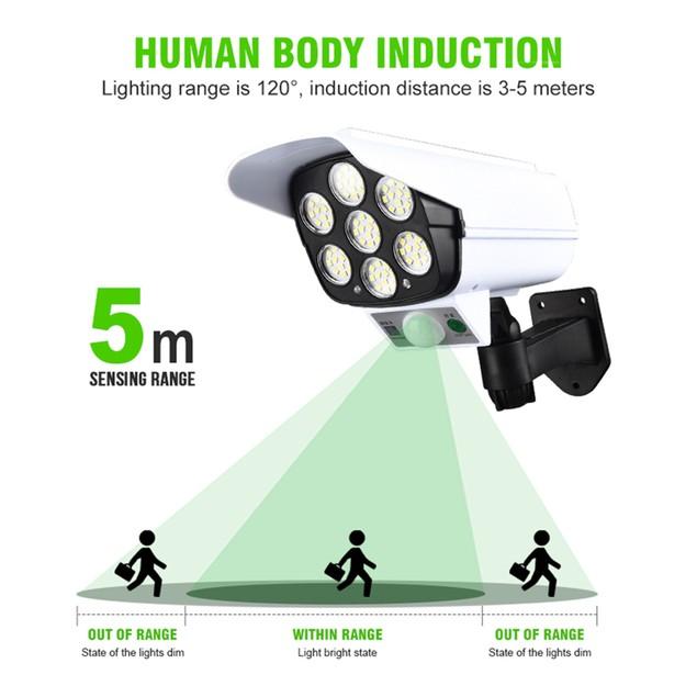 Solar Power LED Light Motion Sensor Fake Camera Wall Lamp Security Outdoorc