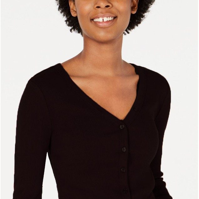 Planet Gold Juniors' Rib-Knit Button-Front Top Black Size Extra Large