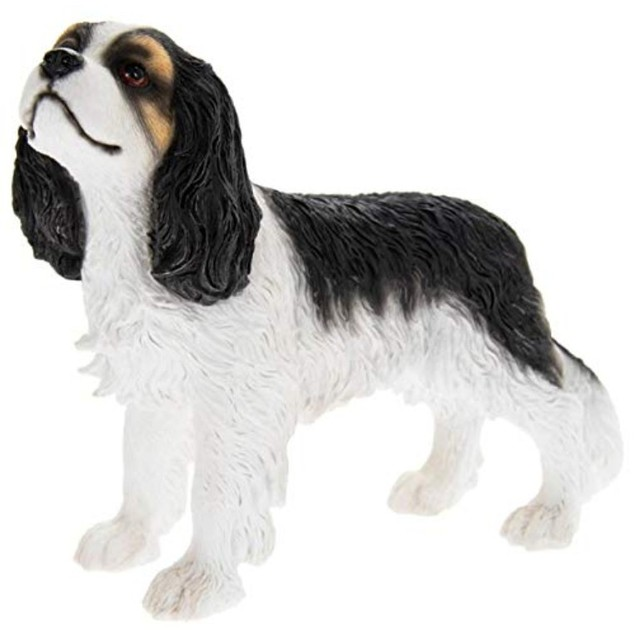Cavalier King Charles Spaniel White and Black Figurine By Lesser and Pavey