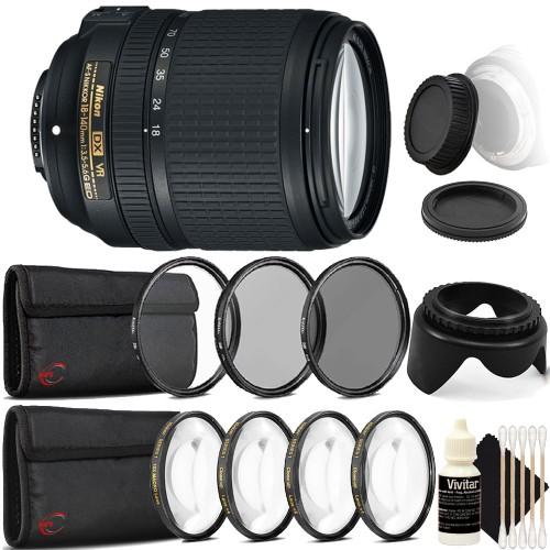 Nikon AF-S DX NIKKOR 18-140mm f/3.5-5.6G ED VR Lens + 67mm UV CPL ND Kit + Macro Kit + Tulip Lens Hood + Rear & Front Cap + 3pc Cleaning Kit