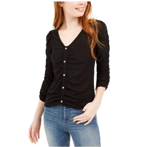Crave Fame Juniors' Ruched Textured Top Black Size Extra Small