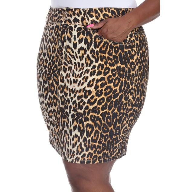 Plus Size Printed Denim Skirt