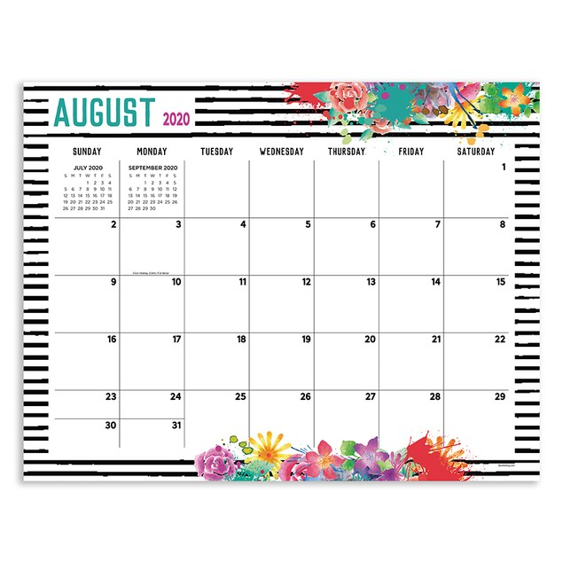 July 2020 - June 2021 Large Desk Pad Monthly Blotter Calendar
