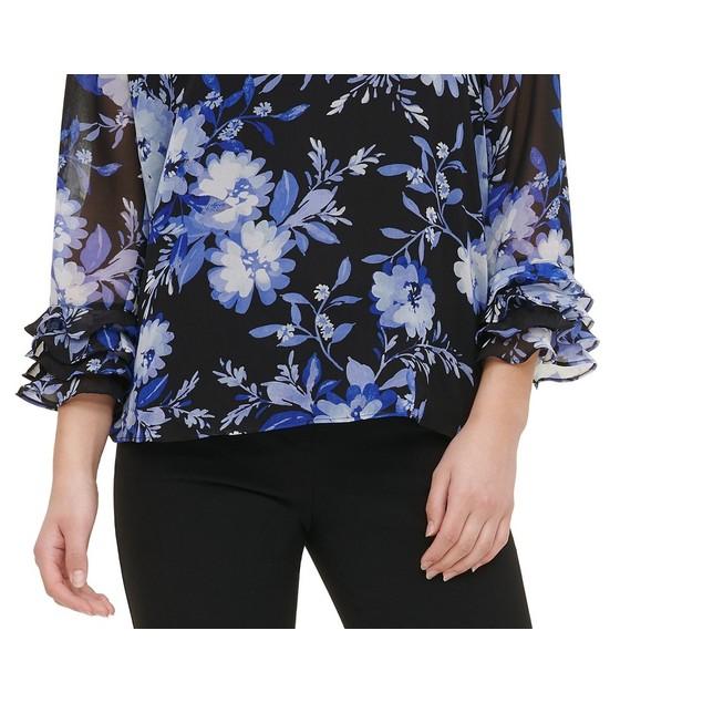 Calvin Klein Women's Printed Ruffle-Sleeve Blouse Blue Size Small