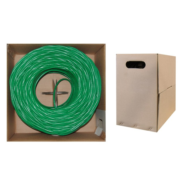 Bulk Cat6 Green Ethernet Cable, Solid, UTP Pullbox, 1000 foot