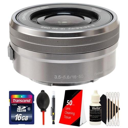 Sony E PZ 16-50mm f/3.5-5.6 OSS Silver Lens + 16GB Memory Card + Lens Cleaner + Dust Blower + 50 Silver Lens Tissue + 3pc Cleaning Kit