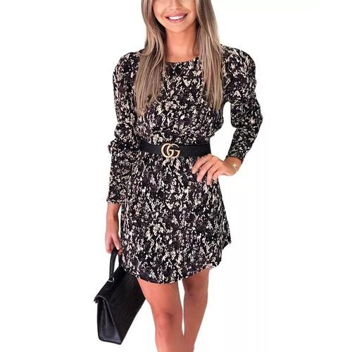 AX Paris Women's Printed Elasticized Cuff Dress Black Size 8