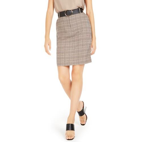 Bar III Women's Belted Plaid Skirt Gray Size 6