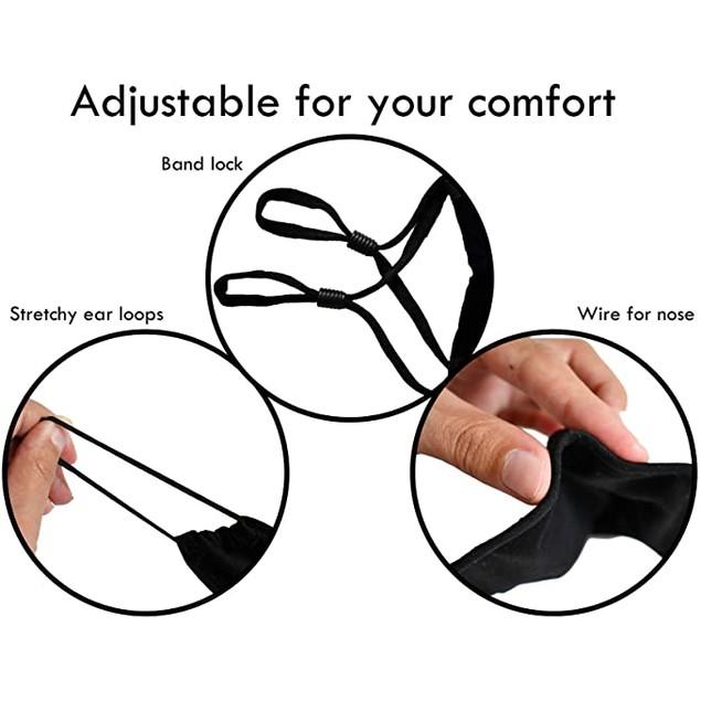 {3-Pack} Cotton Reusable Washable Adjustable Face Masks with Filter Pocket