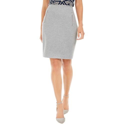 Calvin Klein Women's Zip-Pocket Pencil Skirt Silver Size 14