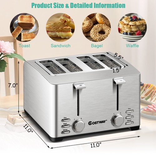 Costway Stainless Steel 4 Slice Toaster Extra-Wide Slot 6 Shade Setting w/