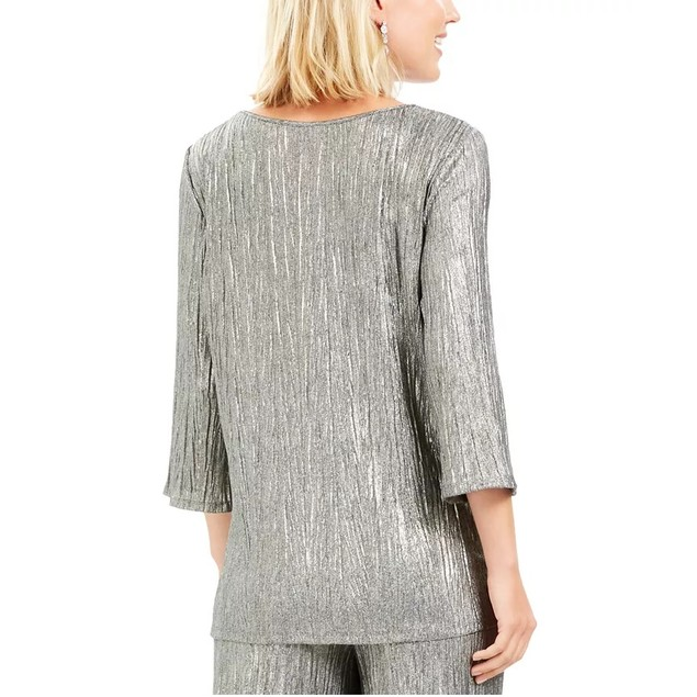 JM Collection Women's Metallic Crinkle Tie-Hem Top Silver Size Extra Large