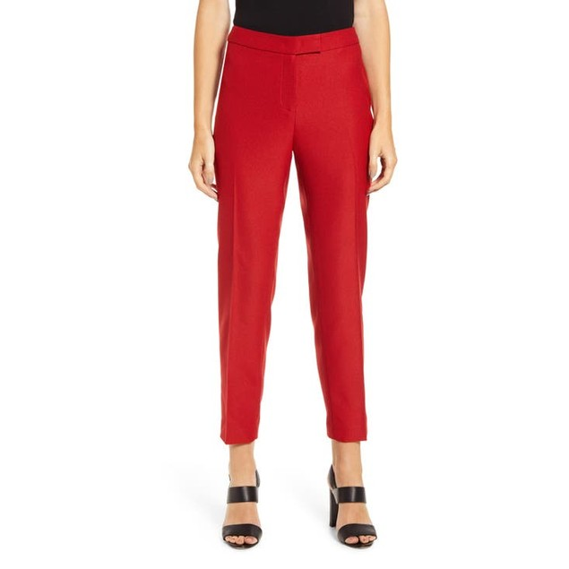 Anne Klein Women's Plus Size Flat-Front Stretch Pants Wine Size 18
