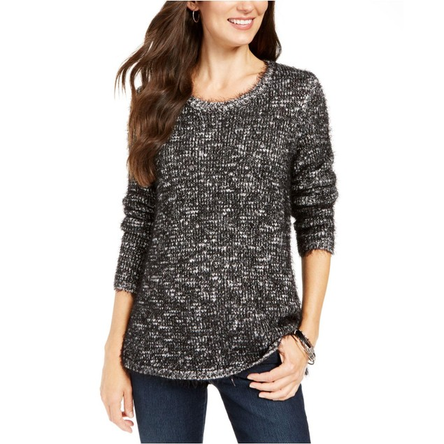Style & Co Women's Marled Eyelash-Texture Sweater Black Size Small