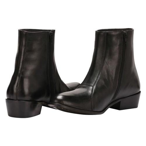 LibertyZeno Men's Ankle Length Side Zipper Genuine Leather Cuban Heel Boots-807