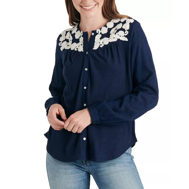 Lucky Brand Women's Embroidered-Yoke Cotton Top Navy Size Extra Small